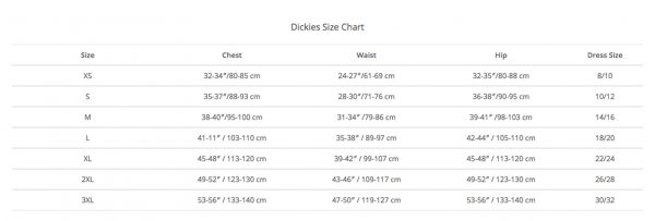 Dickies Size Guide